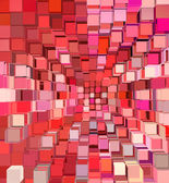 3d abstract fragmented cube pattern pink red backdrop — Stock Photo