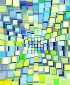 3d abstrakt fragmentierten muster in blau-gelb-grün — Stockfoto