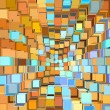 3d abstract fragmented pattern in blue orange - Stock Photo