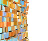 3d abstract gefragmenteerde patroon in groen oranje op wit — Stockfoto