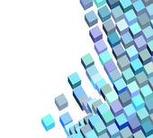 3d blue purple abstract fluid cube pattern on white — Stock Photo