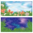 Set tropical banners, vector illustration — Stock Vector