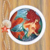 Beautiful mermaid in porthole. vector illustration — Stock Vector