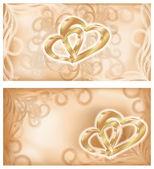 Ange bröllop banners med två gyllene hjärtan, vektor illustration — Stockvektor