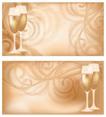Set two wedding banners with champagne, vector illustration — Stock Vector