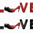 Love banner with female and man's shoes, vector — Stock Vector