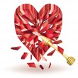 Ruby heart and gold arrow. vector illustration — Imagen vectorial