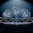 Princess diadem with diamond hearts, vector illustration - Stock Vector