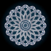 Silver diamond flower, vector illustration — 图库矢量图片