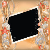 Photo frame with seashells in style scrapbooking, vector — Stock Vector