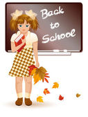 Back to school. Young girl with autumn leafs — Stok Vektör