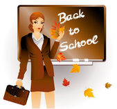 Back to school. The teacher with a portfolio and maple leaves — Stock Vector
