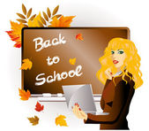Back to school. The teacher with laptop. vector illustration — Vector de stock