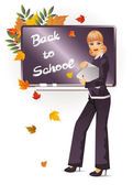Back to school. The beautiful teacher with notebook — Stock Vector