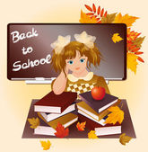 Back to school. Young girl with apple. vector illustration — Stock Vector
