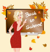 Back to school. The beautiful teacher. vector illustration — Vector de stock