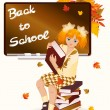 Back to school. Young schoolgirl with books. — Stock Vector