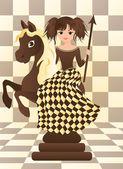 Little black chess horse, vector illustration — Stock Vector