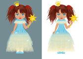 Het prinsesje met een toverstaf. vectorillustratie — Stockvector