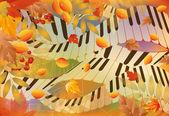 Banner autunno musicale. illustrazione vettoriale — Vettoriale Stock