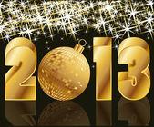 Año 2013 oro con bola de navidad, vector illustration — Vector de stock