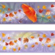 Two autumn banners with umbrella, vector illustration — Stock Vector
