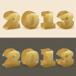 New 2013 year golden transparent. vector illustration — Stock Vector