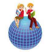 Back to school. Schoolkids and globe. vector illustration — Stock Vector