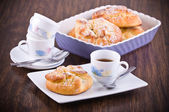 Breakfast with brioches. — Stock Photo