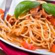 Spaghetti with tuna, cherry tomatoes and capers. — Stock Photo #10802668