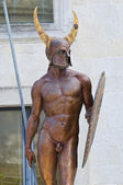 Messapian warrior bronze statue. Cavallino. Puglia. Italy. — Stock Photo