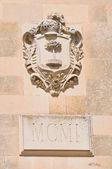 Torre del reloj. MELPIGNANO. Puglia. Italia. — Foto de Stock