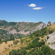 Panoramic view of Castelmezzano. Basilicata. Italy. - Stock Photo