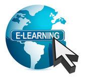 E-learning concept cursor illustration design over white — Stock Photo