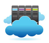Servers and Clouds illustration design over white — Stock Photo