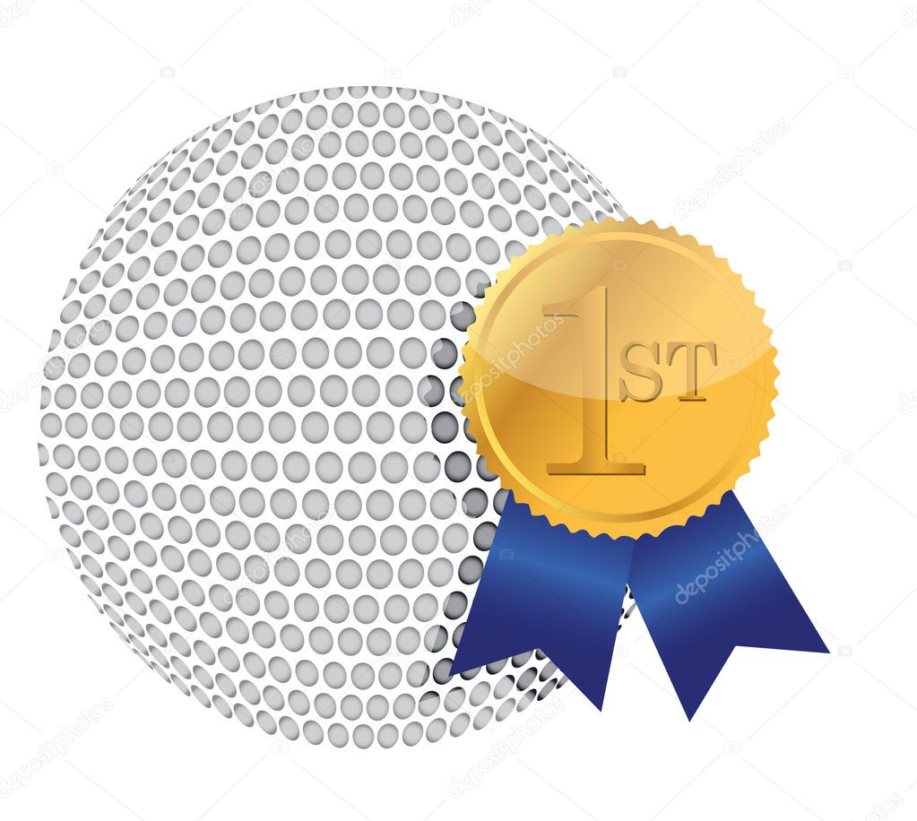 Golf ball with award illustration design over white   Stock Photo #10806557