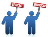 Democrat and republican icons illustration over white design — Stock Photo