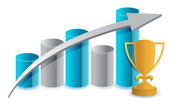 Blue graph and trophy illustration design over white — Stock Photo