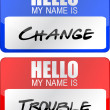 Change and trouble name tags illustration designs over white — Stock Photo #10987418