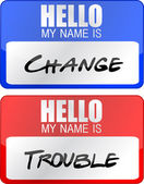 Change and trouble name tags illustration designs over white — Stock Photo