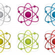 Colorful atoms illustration design over white background - Stock Photo
