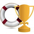 Trophy cup Life Buoy on a white background — Lizenzfreies Foto