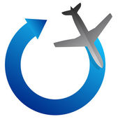 Airplane arrow cycle illustration design over white — Stock Photo