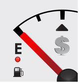 Dollar sign Gas tank almost empty - illustration design — Stock Photo