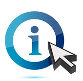 Blue information icon with an arrow cursor over white — Stock Photo
