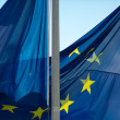 French & European Union Flag Waves in the Sky — Stock Photo