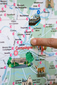 Finger on map near Compiègne in France — Stock Photo