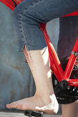 Foot on a pedal — Stock Photo