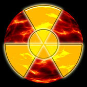 Radiation hazard sign on the background of ecological disaster — Stock Photo