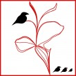 Royalty-Free Stock Vector Image: Vector black birds on a red flower illustration